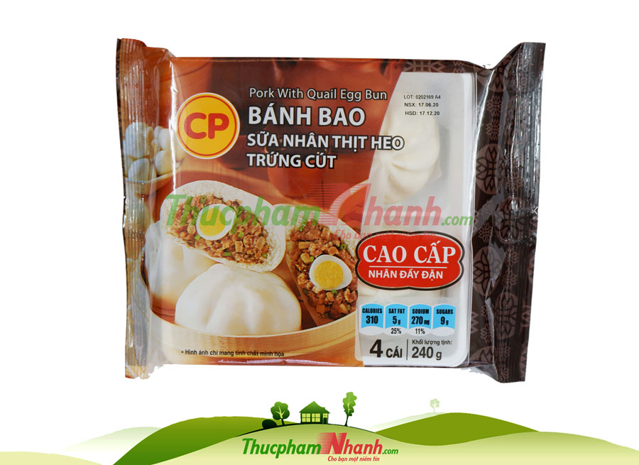 Bánh bao sữa nhân thịt heo trứng cút CP - khay 240g