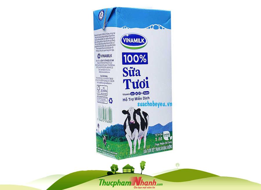 Sữa tươi tiệt trùng không đường - hộp 1 lít