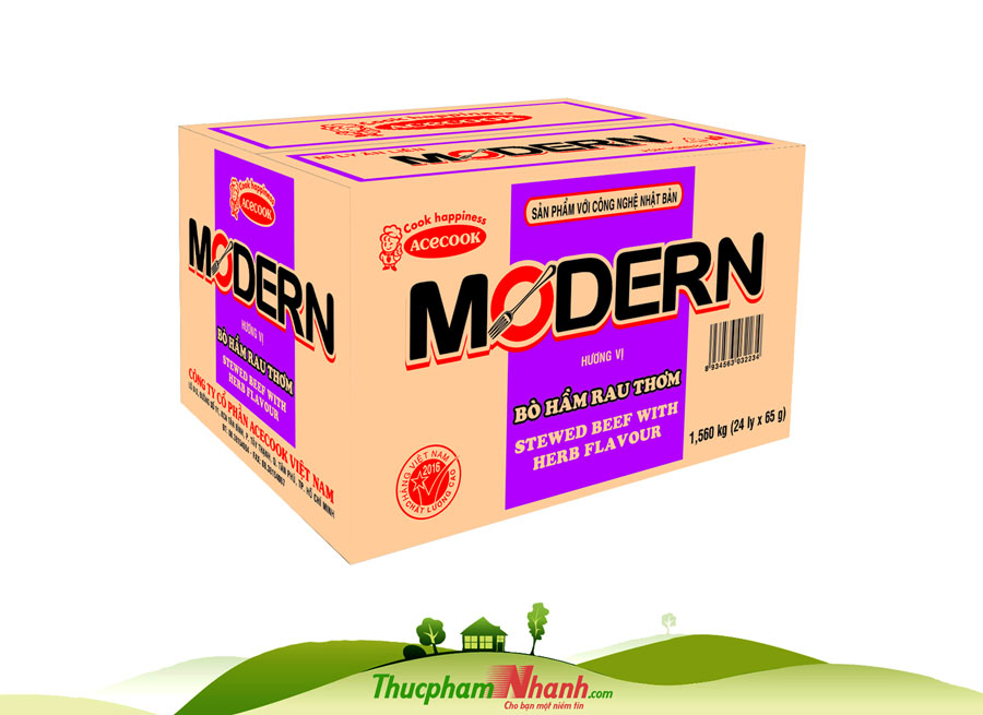 Mi Ly Modern Vi Bo Ham Rau Thom 65g Thung 24 Ly
